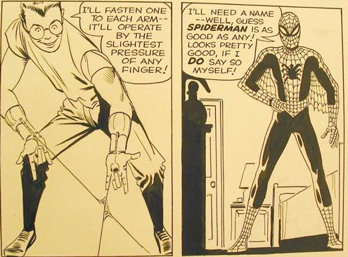 Detail from Steve Ditko\'s original artwork for Amazing Fantasy No. 15, August 1962
