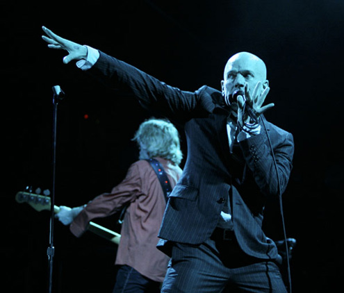 Mike Mills and Michael Stipe at Merriweather. Photo by Kyle Gustafson.