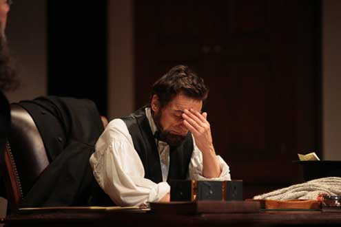 As Lincoln, David Selby has the weight of the union on his bony shoulders in </i>The Heavens Are Hung in Black.<i>  Photo by T. Charles Erickson.