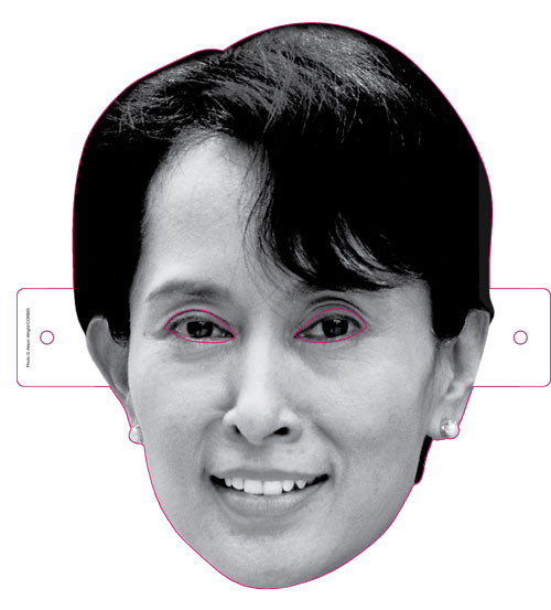 Aung San Suu Kyi, the Burmese agitator for democracy, is now Aung San Suu Kyi, the Halloween mask.