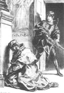 Claudius at Prayer Hamlet, Delacroix 1844