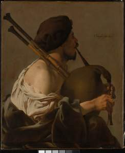 Hendrick Ter Brugghen, Bagpipe player in Profile, 1624
