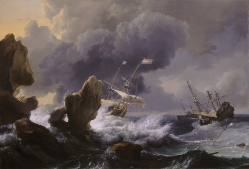 Ludolf Backhuysen, Ships in Distress off a Rocky Coast, 1667