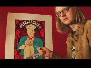 "Austin poster designer Rob Jones in Eileen Yaghoobian's documentary, ""Died Young, Stayed Pretty."""