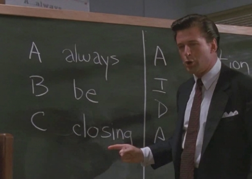 "This is why I never wanted to get a real job: Alec Baldwin in ""Glengarry Glen Ross: The Motion Picture."""