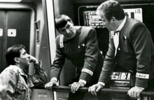 "Director Nicholas Meyer with Leonard Nimoy and William Shatner on the set of ""Star Trek II: The Wrath of Khan,"" 1982."