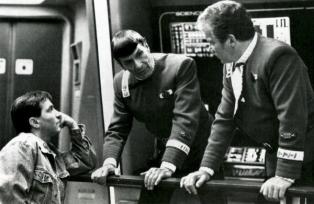 "Director Nicholas Meyer with Leonard Nimoy and William Shatner on the set of ""Star Trek II: The Wrath of Khan,"" 1982."