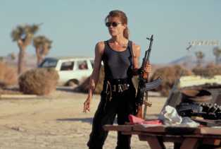 """In """"Terminator 2: Judgment Day,"""" Linda Hamilon's Sarah Connor swaps roles with the titular cyborg."""