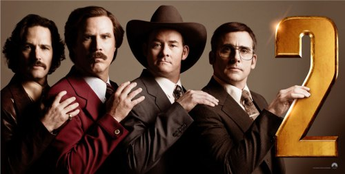 "Putting the band back together: Paul Rudd, Will Ferrell, David Koechner, Steve Carell, an Arabic numeral. ""Anchorman 2"""