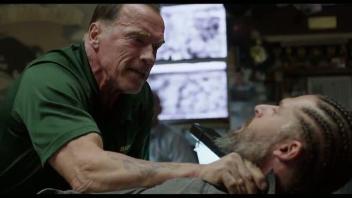 "Arnold Schwarzenegger and Joe Manganiello in David Ayer's ""Sabotage."""
