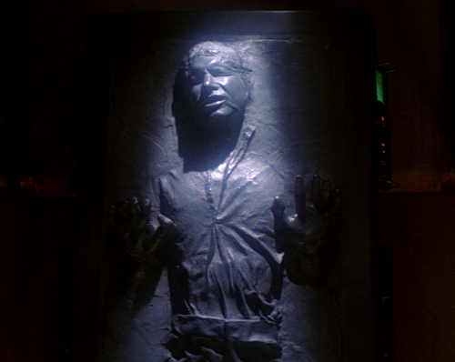 "Han Solo frozen in carbonite in ""The Return of the Jedi."""