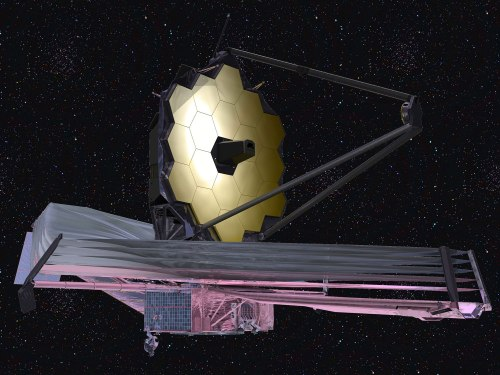 An illustration of the James Webb Space Telescope. Courtesy of NASA.