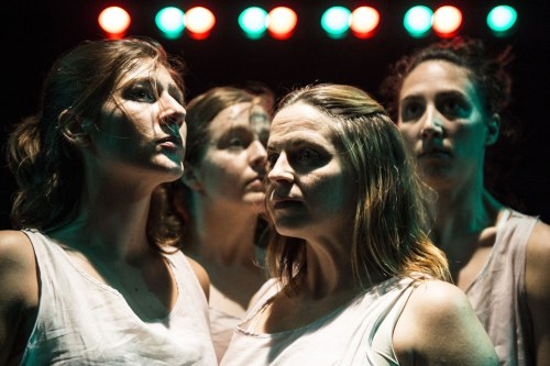 Erin White, Katie Murphy, Kimberly Gilbert, and Eleni Grove in Enter Ophelia, distracted. Photo by Teresa Castracane.