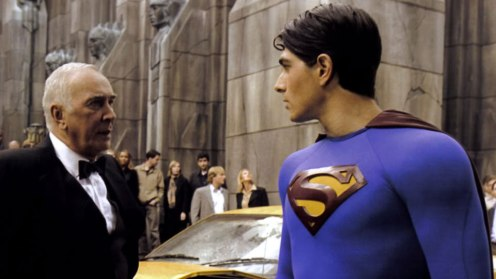 "Frank Langella and Brandon Routh in Bryan Singer's too-gentle, too-emo ""Superman Returns."""