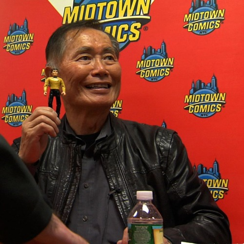 Hikaru Sulu and George Takei at Midtown Comics in Manhattan.