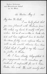 Letter from Annie M. Sullivan to Alexander Graham Bell, May 3, 1893.