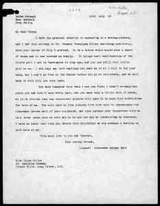 1918 letter from Alexander Graham Bell to Helen Keller