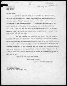 1918 letter from Alexander Graham Bell to Helen Keller