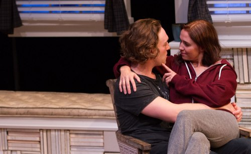 """Luigi Sottile and Holly Twyford in Signature Theatre's """"Sex with Strangers."""""""