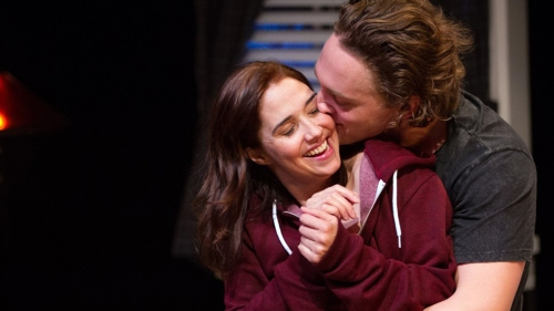 """Holly Twyford and Luigi Sottile in Signature Theatre's """"Sex with Strangers."""""""