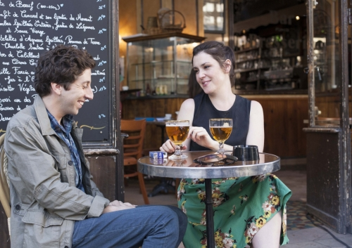 """Writer/codirector/star Simon Helberg and Melanie Lynskey in """"We'll Never Have Paris.""""."""