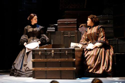 "Mary Bacon and Caroline Clay as Mary Todd Lincoln  and Elizabeth Keckley in ""The Widow Lincoln"" at Ford's Theatre."