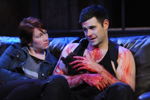 "Megan Dominy and Thomas Keegan in Constellation Theatre Company's proudction of Martin McDonagh's ""The Lieutenant of Inishmore."""