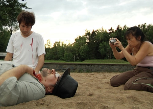 "Elliot Scott, Blake Zwicker, and Linda Lum in ""Kung Fu Elliot,"" a documentary by Matthew Bauckman & Jaret Belliveau."