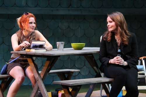 "Maggie Irwin and Michelle Six in Round House Theatre's production of Gina Gionfriddo's ""Rapture, Blister, Burn."""