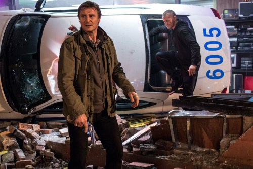 "Liam Neeson and Joel Kinnaman in ""Run All Night."" (Myles Aronowitz/Warner Bros.)"
