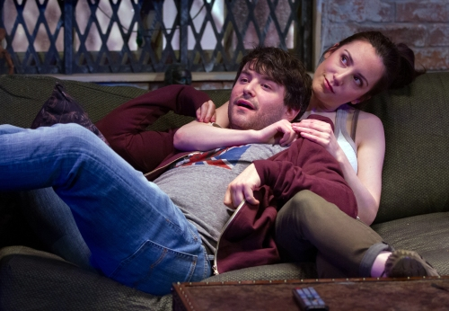 "Alex Brightman and Jessica Hershberg in ""Soon."" (Teresa Wood)"