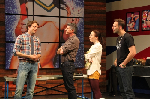 "Brandon McCoy, James Whalen, Laura C. Harris, and Danny Gavigan in ""NSFW."" CreditPhoto by Danisha Crosby ."