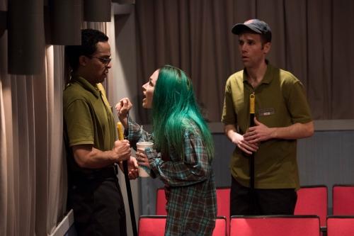 """Thaddeus McCants, Laura C. Harris, and Evan Casey in Signature Theatre's """"The Flick."""""""