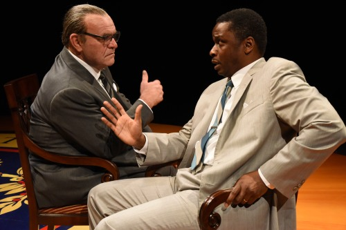 Jack Willis as President Lyndon Baines Johnson and Bowman Wright as Martin Luther King, Jr. (Stan Barouh)