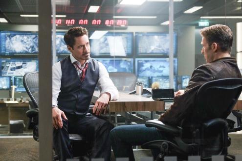 Marvel's Captain America: Civil War..L to R: Tony Stark/Iron Man (Robert Downey Jr.) and Steve Rogers/Captain America (Chris Evans)..Photo Credit: Zade Rosenthal..? Marvel 2016