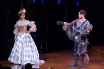 "Maulik Pancholy as Katherina and Peter Gadiot as Petruchio in ""The Taming of the Shrew."" (Scott Suchman)"