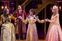 """Rick Hammerly as the Contessa, Peter Gadiot as Petruchio, Maulik Pancholy as Katherina, and Oliver Thornton as Bianca in """"The Taming of the Shrew."""" (Scott Suchman)"""