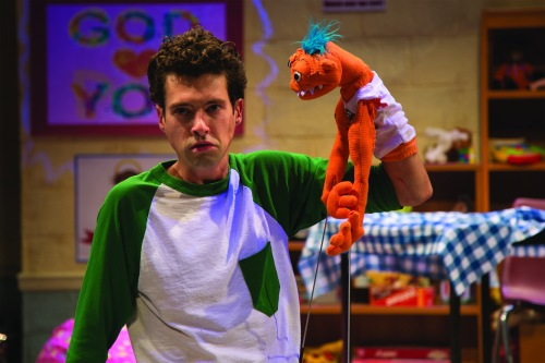 "Liam Forde in ""Hand to God"" at Studio Theatre. (Amy Horan)"