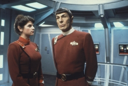 """Kirstie Alley and Leonard Nimoy in 1982's """"Star Trek II: The Wrath of Khan."""" (CBS Consumer Products / Star Trek Archive)"""