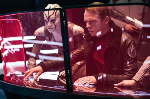 "Sofia Boutella and Simon Pegg in ""Star Trek Beyond."" (Kimberly French/Paramount)"