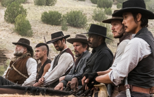 (l to r) Vincent D'Onofrio, Martin Sensmeier, Manuel Garcia-Rulfo, Ethan Hawke, Denzel Washington, Chris Pratt and Byung-hun Lee star in Metro-Goldwyn-Mayer Pictures and Columbia Pictures' THE MAGNIFICENT SEVEN.